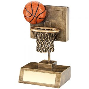 basketball and net with backboard trophy